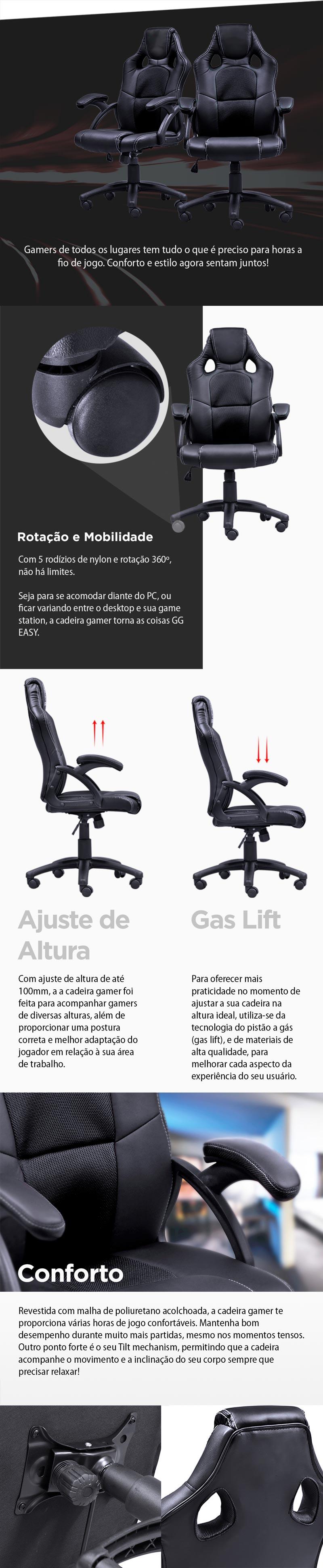 Cadeira Gamer Y-2706 (V6) Preta
