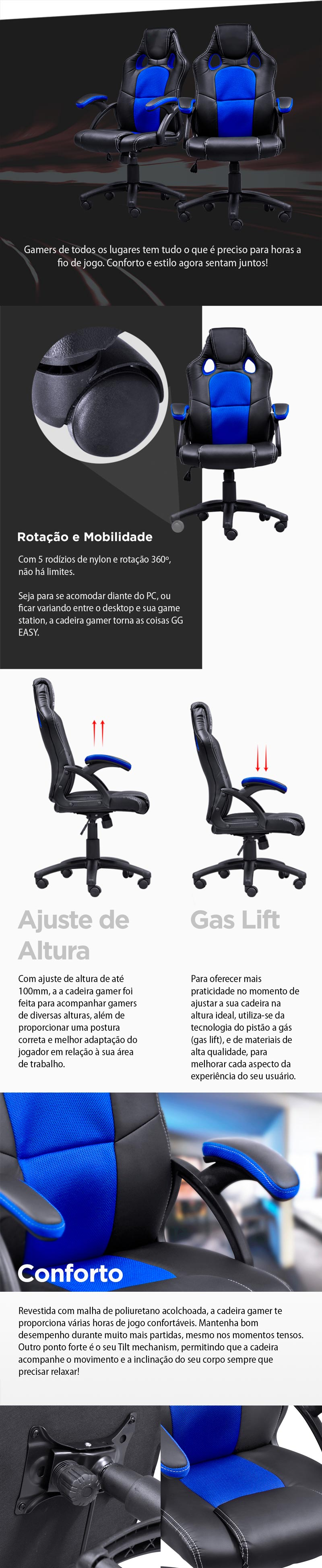 Cadeira Gamer Y-2706 (V6) Preto/Azul