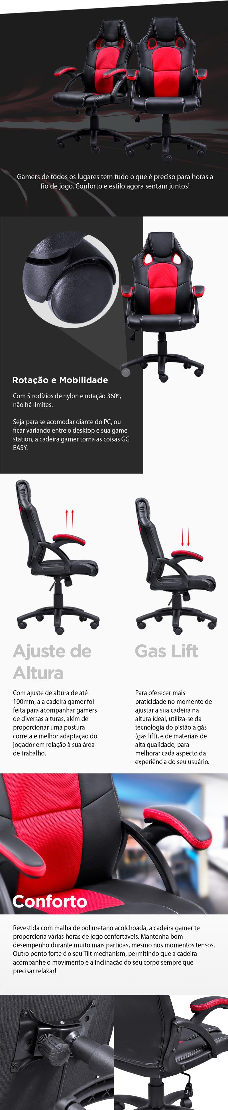 Cadeira Gamer Y-2706 (V6) Preto/Vermelho