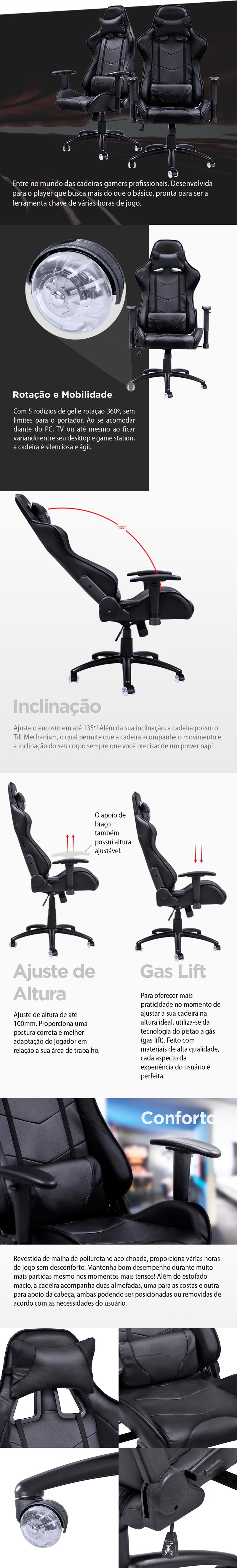 Cadeira Gamer Y-2401 (V8) Preta com RODAS EM GEL