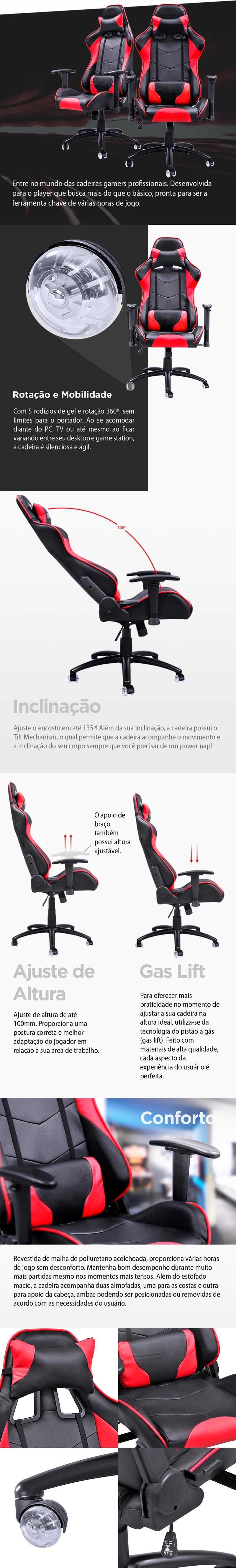 Cadeira Gamer Y-2401 (V8) Vermelha com RODAS EM GEL