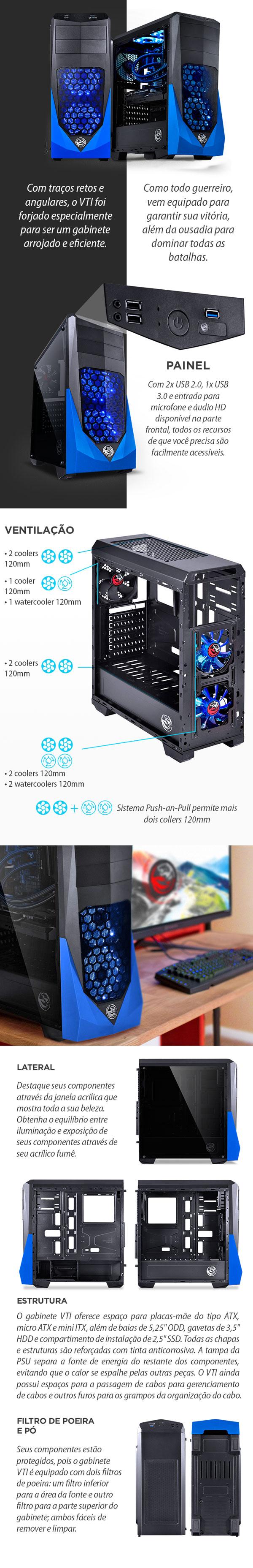 Gabinete gamer PCYES VTI preto e azul