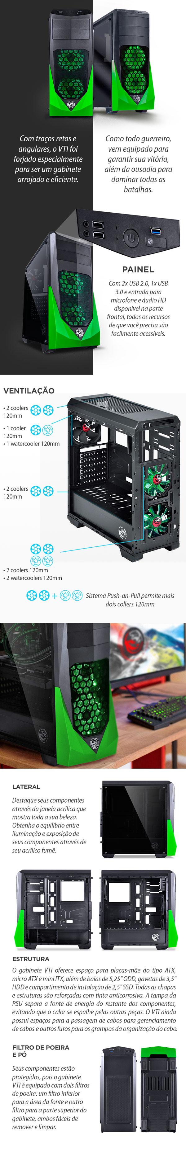 Gabinete gamer PCYES VTI preto e verde